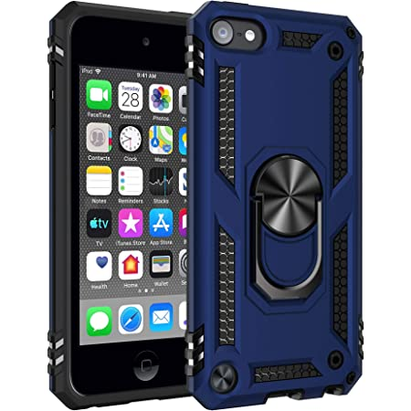 PZOZ Case Compatible for iPod Touch 7th 6th 5th Generation Shockproof TPU Bumper /& Crystal Clear Back Built-in Screen Protector Blue Dual Layer Rugged Cover for iPod Touch 7 6 5 Gen