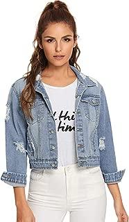 Floerns Women's Long Sleeve Basic Button Down Wash Denim Jean Jacket