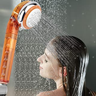Geekpure 4 Stage Showerhead Shower Filter -Remove Hardness and Chlorine Add Vitamin C Dry Skin NO Longer Itchy-2 Filters Included -Universal Handheld-BPA free (Orange)