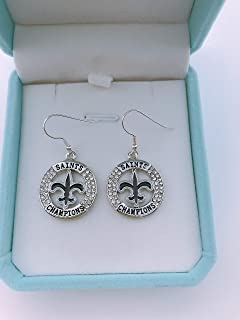 HASTTHOU NFL Team Dallas Cowboys Logo 925 Silver Plated Clear Crystal Diamond Polished Dangle Earrings for Fans