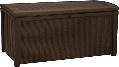 Keter Borneo 110 Gallon Resin Deck Box-Organization and Storage for Patio Furniture Outdoor Cushions, Throw Pillows, ...