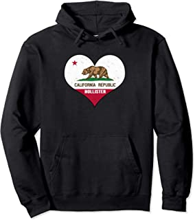I Love Hollister, California - CA Republic Flag Heart Pullover Hoodie
