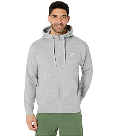 Nike NSW Club Hoodie Full Zip (Dark Grey Heather/Matte Silver/White) Men