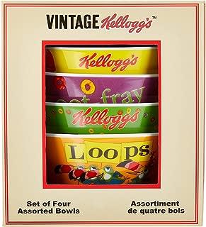 Kellogg's Froot Loops Bowls (Set of 4) with Vintage Kellogg's Box, Multi Color
