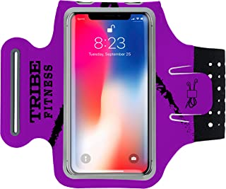 TRIBE Premium Running Armband & Phone Holder for iPhone X, Xs, Xs Max, Xr, 8, 7, 6, Plus Sizes, Galaxy S9, S8, S7, S9/S8 Plus, Note with Adjustable Elastic Band & Key/Card Slot - 100% Lycra