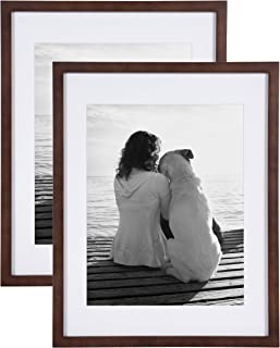 DesignOvation Gallery Wood Photo Frame Set for Customizable Wall Display, Pack of 2, 14x18 matted to 11x14, Walnut Brown