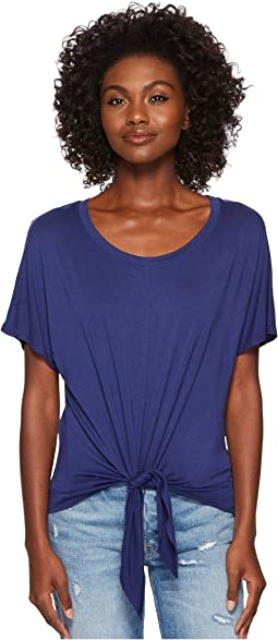 Three Dots - Refined Jersey Tie Front Tee