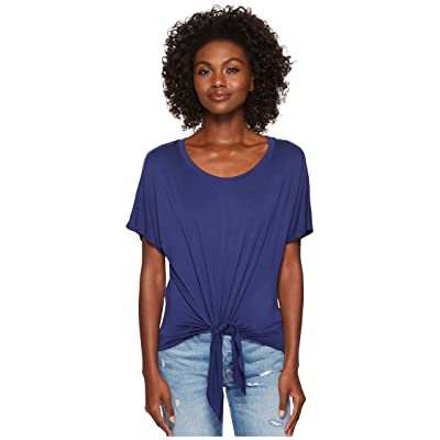 Three Dots Refined Jersey Tie Front Tee (Sparkling Water) Women