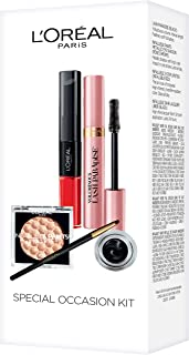L'Oreal Paris Makeup, Lash Paradise Mascara, Infallible Paints Metallic Eye Shadow, Infallible Lacquer Eyeliner, Infallible Pro-Last 2 Step Lipstick, 4 Count