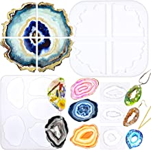 Geode Agate Coaster Silicone Epoxy Resin Moulds 11 Shapes Assortment 1.4inch-5.2inch for Polymer Clay Craft Soap Jewellery Making Concrete Cement
