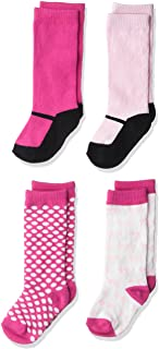 Luvable Friends Baby Girls' Knee-high Socks 4-Pack