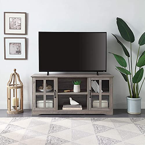 lowest BELLEZE Modern Traditional TV Stand & Media Entertainment Center Console Table for TVs new arrival up to 60 Inch or Sideboard Buffet with Wood Glass Storage Cabinets - Cori (Gray 2021 Wash) online sale