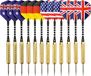 REEHUT 12 Pack Steel Tip Darts with Aluminum Shafts, Brass Barrels,Stainless Steel Needle and Protective Cover for Professionals and Amateurs