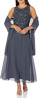 J Kara Women's Petite Long Beaded V Trim Detail Dress with Scarf