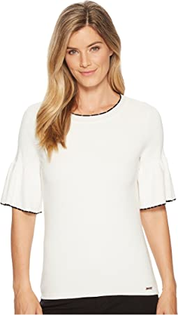 Ivanka Trump - Bell Sleeve Mini Scallop Trim Sweater