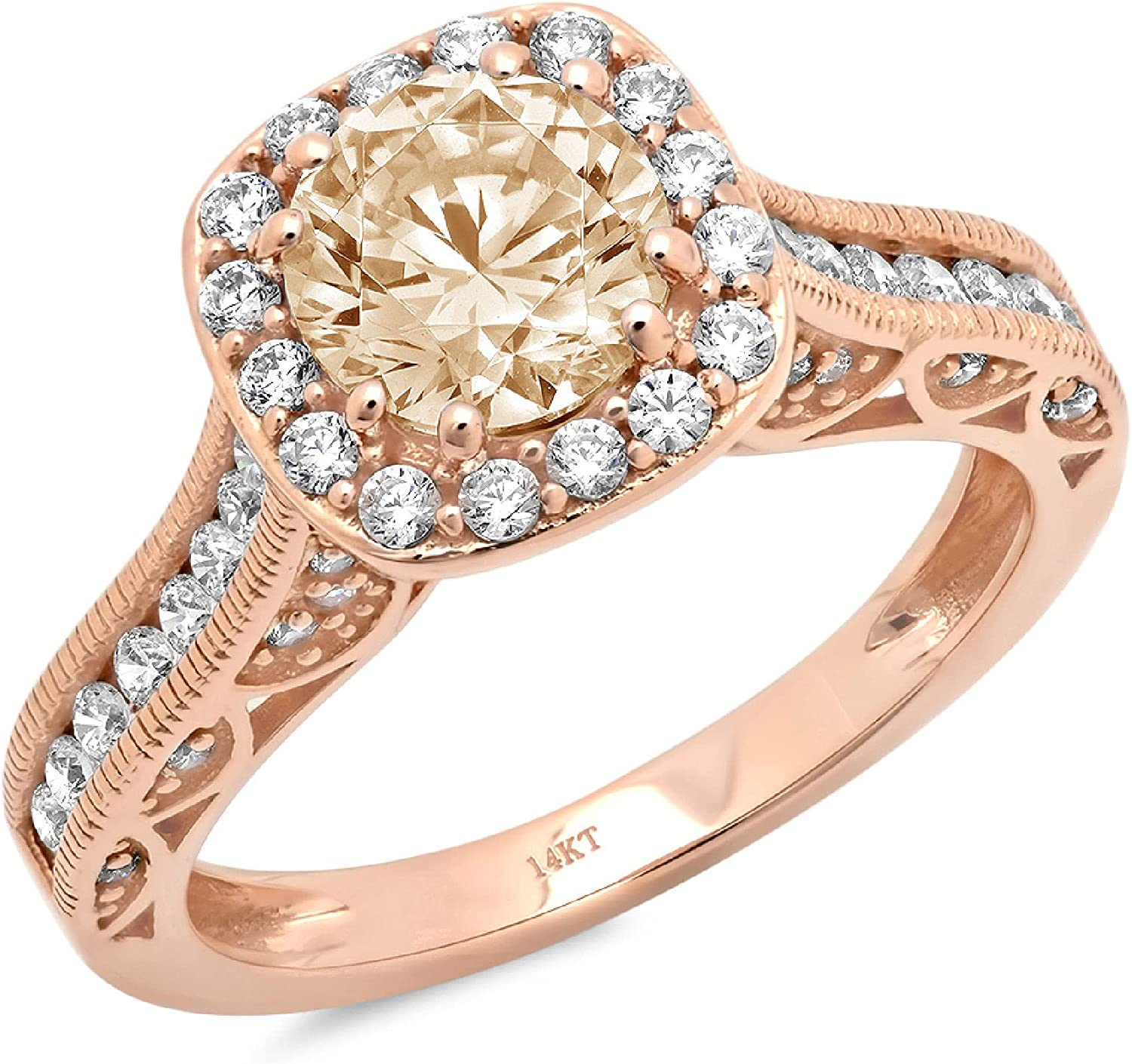 2 ct Brilliant Round Cut Solitaire accent Halo Stunning Genuine Flawless Simulated Yellow Moissanite Modern Promise Statement Designer Ring 14k Rose Gold