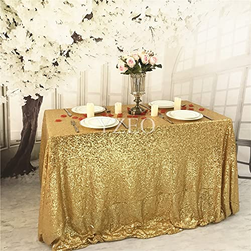 YZEO Gold 5072 Sequin Tablecloth Home Wedding Event Party Banquet Decoration Christmas