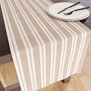 Encasa Homes Table Runner for 8-Seater Dining - Stripes (Fat/Thin) - Beige - Large, Eco-Friendly Cotton, Decorative Homespun Cloth for Party, Banquet, Restaurant & Outdoors - Machine Washable