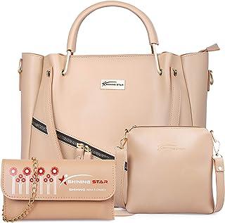Shining Star Women's Handbag With Sling Bag & Clutch(Set of 3, Cream)