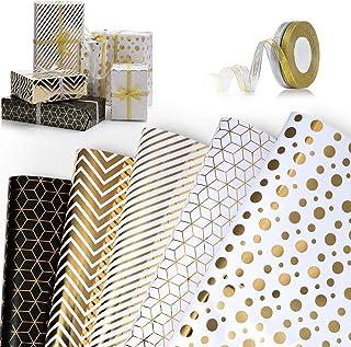 ZWOOS Papier Cadeau Lot de 5 Papier Cadeau et 2 Rouleaux de Ruban Feuilles De Papier d'emballage Impression Dorée Cadeau p...