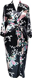 838 - Plus Size Women's Kimono Long Robe - Peacock and Blossom (US One-Size fits most 1X 2X 3X)
