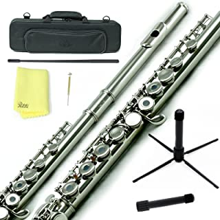 Sky C Flute with Lightweight Case, Cleaning Rod, Cloth, Joint Grease and Screw Driver -  Nickel Open