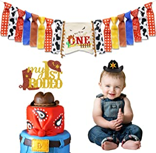 Cowboy First Birthday Party Decorations Wild West Cowboy Highchair Banner My 1st Rodeo Cake Topper Cowboy Birthday Hat for Western Themed Cowboy Cowgirl Baby Birthday Party Supplies