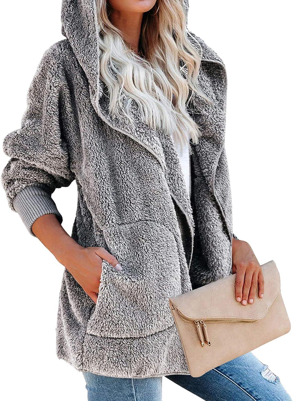 MAYAMANG Womens Long Sleeve Fuzzy Fleece Open Front Hooded Cardigans Jacket Winter Warm Coats Outwear with Pocket