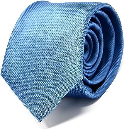 Oxford Collection Corbata de hombre Azul Claro - 100% Seda - Clásica, Elegante y Moderna - (ideal para un regalo, una boda, con un traje, en la ...