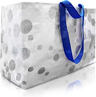 Beach Bag Tote And Reusable Shopping Bag For Women To Carry Towels And Accessories – Perfect For Travel Overnight, Swimming or Sport - Large Oversized Waterproof With Strong Handles And Zipper Compartment (Silver Bubbles)