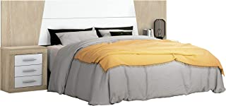 duehome HomeSouth - Cabezal para Cama de Matrimonio, cabecero Modelo Simon, Color Cambria y Blanco, Medidas: 260 cm (Ancho) x 60 cm (Alto) x 3 cm (Fondo)