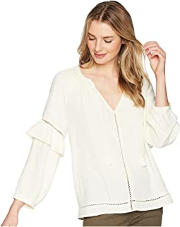 Split-Neck Blouson Sleeve Top with Tassels