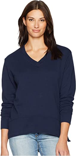 Slub French Terry Long Sleeve V-Neck Pullover with Side Slit