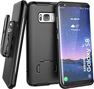 Galaxy S8 Belt Clip Holster Case (Secure-fit) DuraClip Combo by Encased (Samsung Galaxy S8) (Smooth Black)