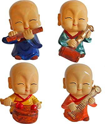 TIED RIBBONS Set of 4 Decorative Monks Buddha Showpiece (15 cm X 8 cm) for Home Living Room Bedroom Decoration