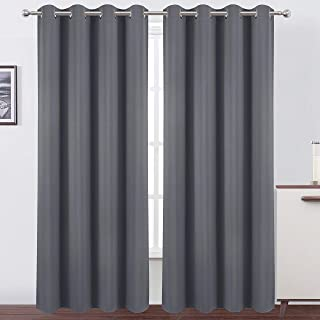 LEMOMO Blackout Curtains 52 x 84 Inch/Grey Curtains Set of 2 Panels/Thermal Insulated Room Darkening Curtains for Bedroom(...