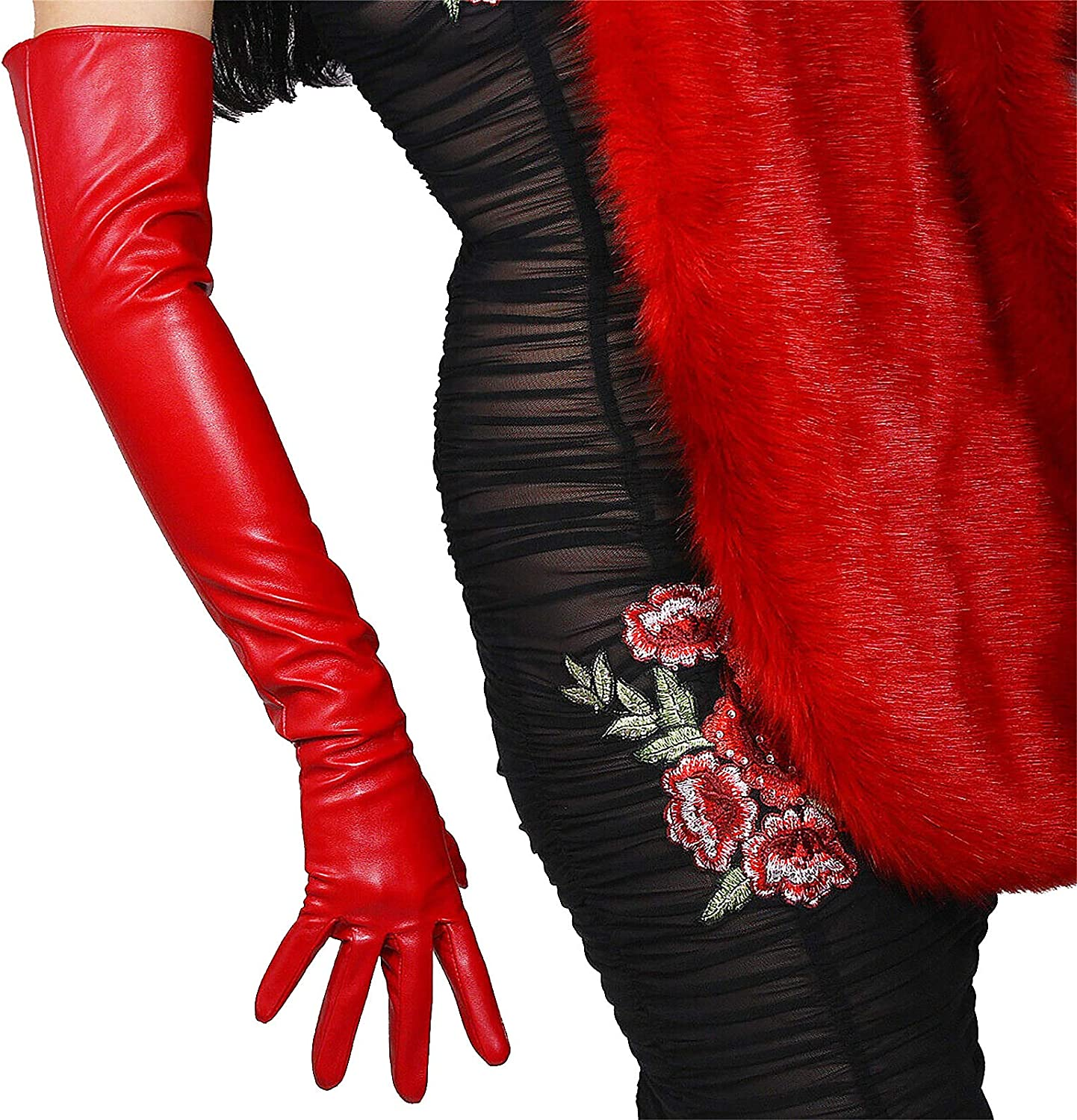 GooDay Women's Red Opera Length Leather Gloves Faux Lambskin Handmade 24 inches