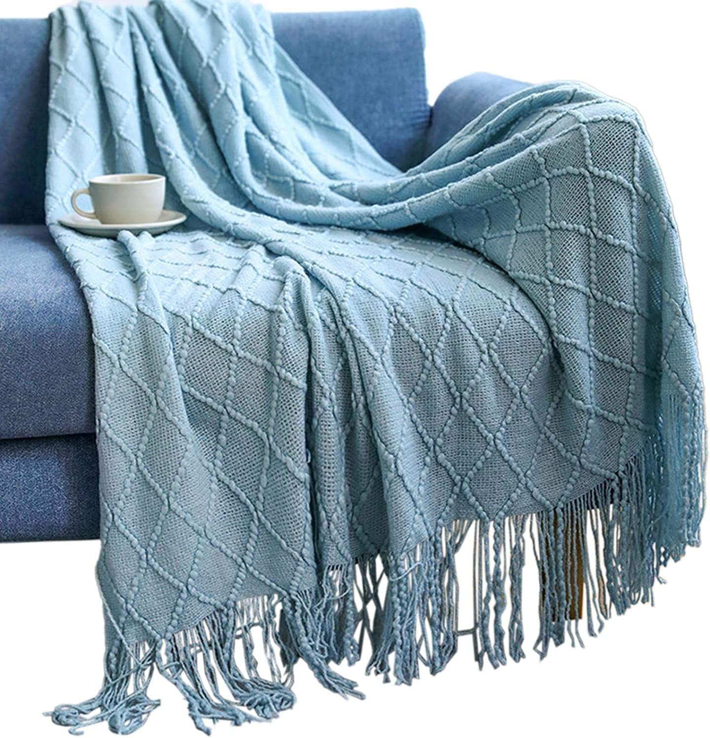 Manta de punto, ligera, suave, fina para sofás, manta decorativa tejida cálida con borlas para sillones y camas (azul claro, 130 x 200 + 10 cm)