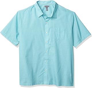 Van Heusen Air Short Sleeve Button Down Poly Rayon Grid Shirt Camisa con Cuello Abotonado para Hombre