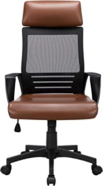 YAHEETECH Ergonomic Mesh Office Chair with Leather Seat, High Back Task Chair with Headrest, Rolling Caster for Meeting Room,