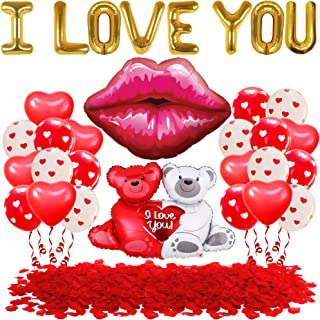 Teddy Bear and I Love You Balloons Huge Set | Valentine Decor with 1000 Rose Petals | Large I Love U Foil Balloon for Vale...