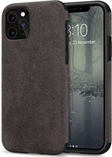 TENDLIN Compatible with iPhone 11 Pro Max Case Premium Suede-Like Material Design Leather Hybrid Comfortable Grip Case (Br...