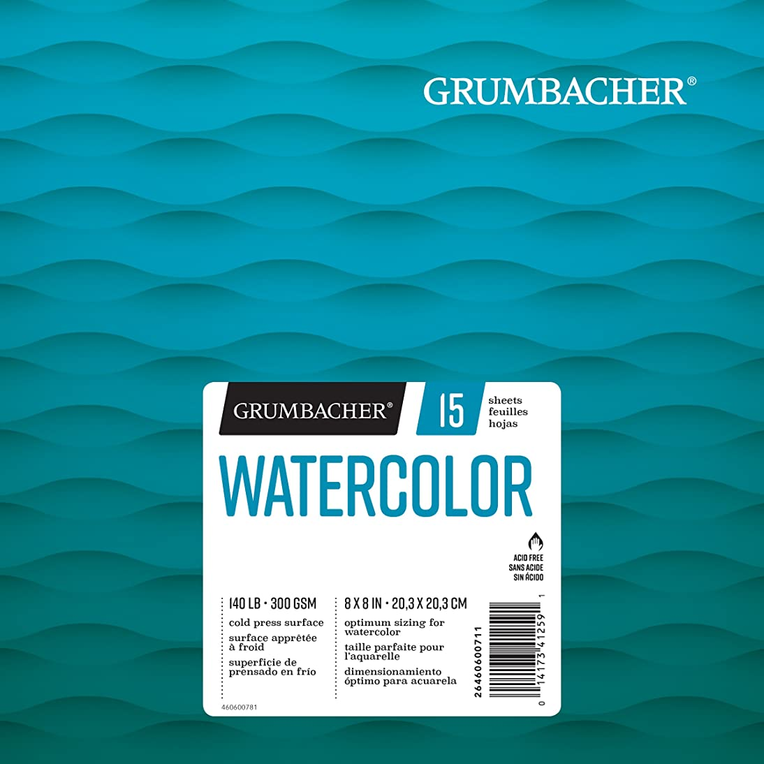 Grumbacher Watercolor Paper Pad, 140 lb. / 300 GSM, 8 x 8 inches, Fold Over Construction, 15 White Cold-Press Sheets/Pad, 1 Each, 26460600711