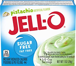 JELL-O Sugar Free Fat Free Instant Pudding & Pie Filling Mix, Pistachio, 6 Count, 6 Ounce