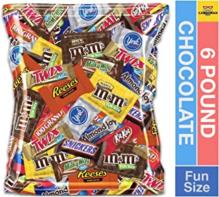 (6 Pound) Variety Assortment Chocolate Mix Bulk Pack M&M's Peanut, M&M's Plain, Reese's Peanut Butter Cups, Snickers, Kit Kat,Twix, Milky Way, Almond Joy, 100 Grand,York Peppermint Patties