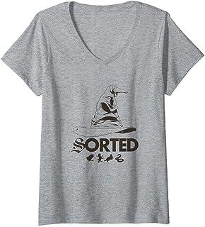 Femme Harry Potter Sorting Hat T-Shirt avec Col en V