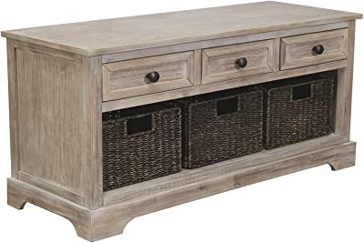 Benjara 3 drwer 42 Inches 3 Drawer Storage Bench with 3 Woven Baskets, Brown