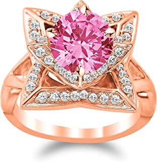 Lotus Flower Diamond Engagement Ring with a 1 Carat Pink Sapphire Heirloom Quality Center