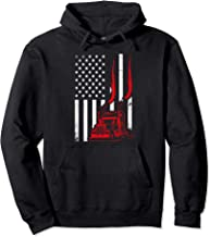 Trucker American Flag Image Truck Driver Dad Illustration Pullover Hoodie