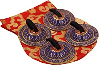 DharmaObjects Belly Dancing OM Namah Pro Finger Zills or Cymbals (Blue)